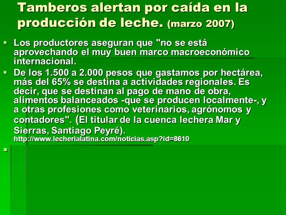 Tamberos alertan por caída en la producción de leche. (marzo 2007)