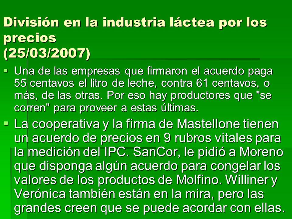 División en la industria láctea por los precios (25/03/2007)