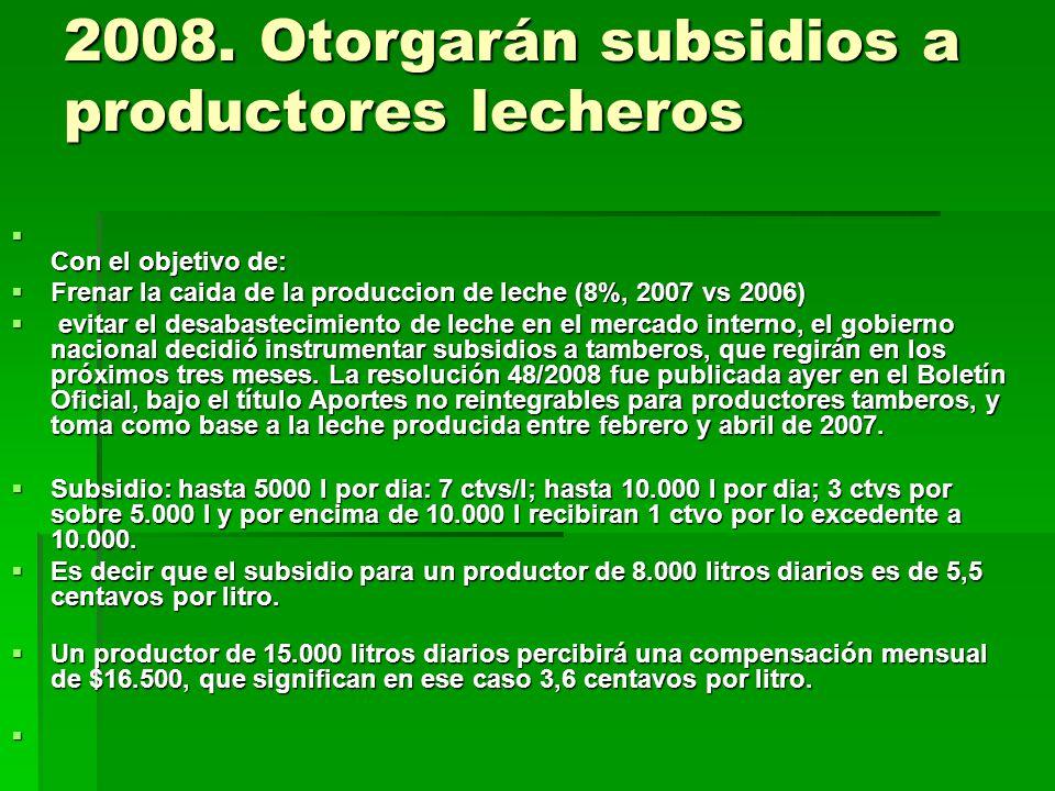 2008. Otorgarán subsidios a productores lecheros