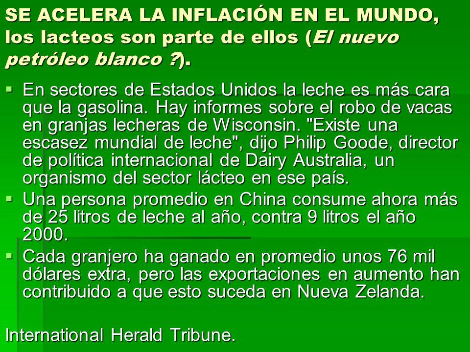 SE ACELERA LA INFLACIÓN EN EL MUNDO, los lacteos son parte de ellos (El nuevo petróleo blanco ).