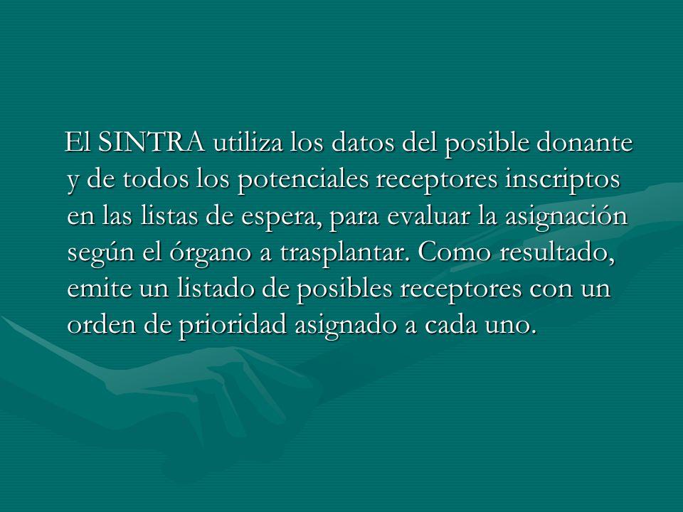 El SINTRA utiliza los datos del posible donante y de todos los potenciales receptores inscriptos en las listas de espera, para evaluar la asignación según el órgano a trasplantar.