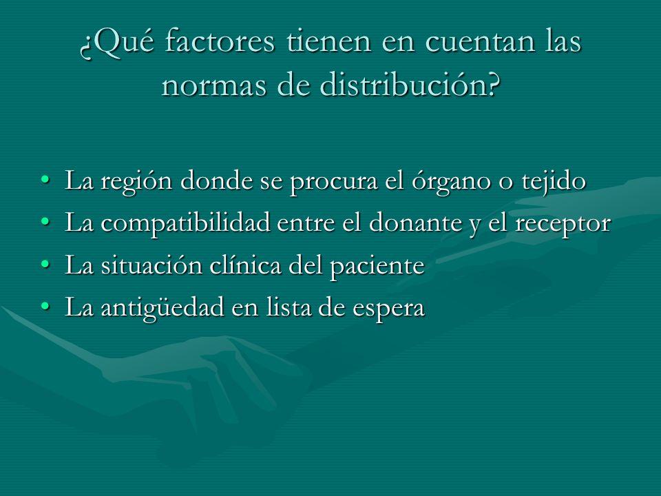 ¿Qué factores tienen en cuentan las normas de distribución
