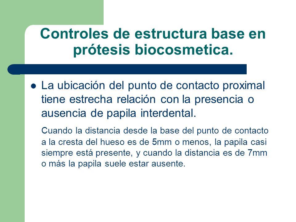 Controles de estructura base en prótesis biocosmetica.