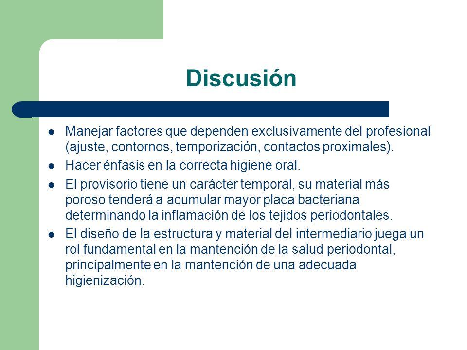 Discusión Manejar factores que dependen exclusivamente del profesional (ajuste, contornos, temporización, contactos proximales).