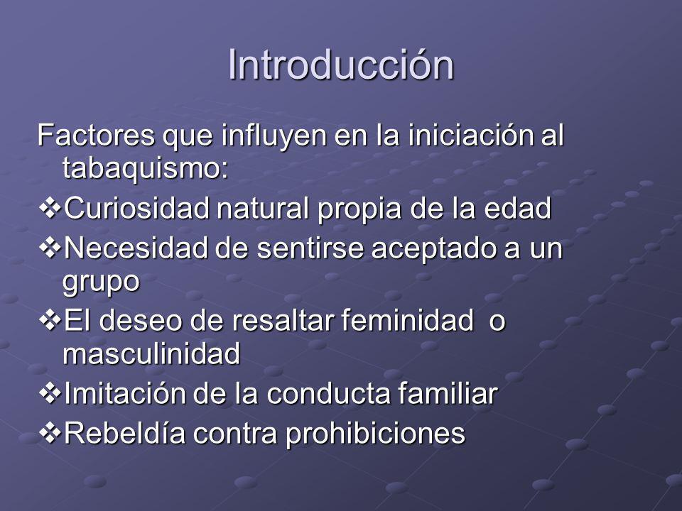Introducción Factores que influyen en la iniciación al tabaquismo: