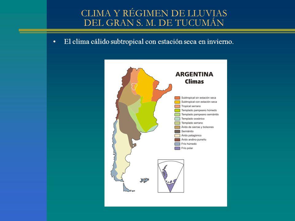 CLIMA Y RÉGIMEN DE LLUVIAS DEL GRAN S. M. DE TUCUMÁN