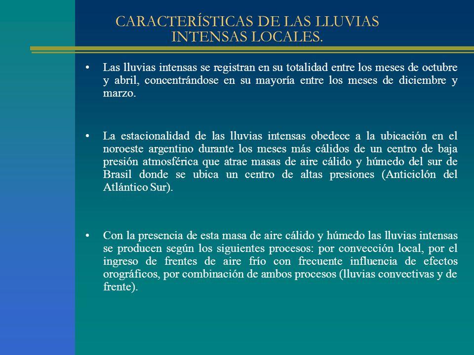 CARACTERÍSTICAS DE LAS LLUVIAS INTENSAS LOCALES.