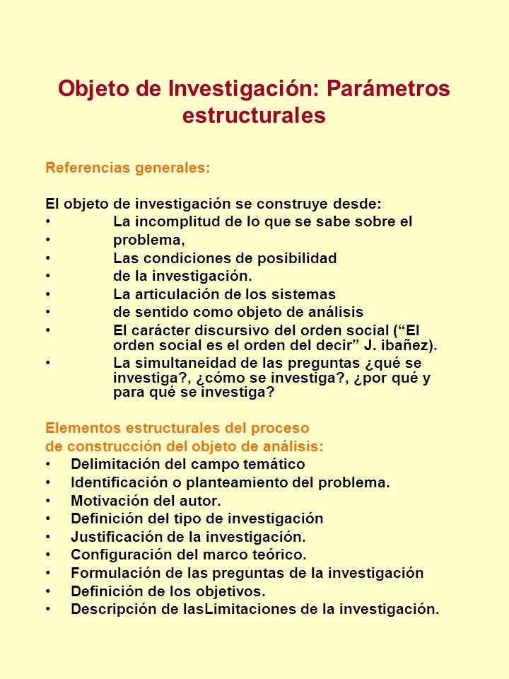 Objeto de Investigación: Parámetros estructurales