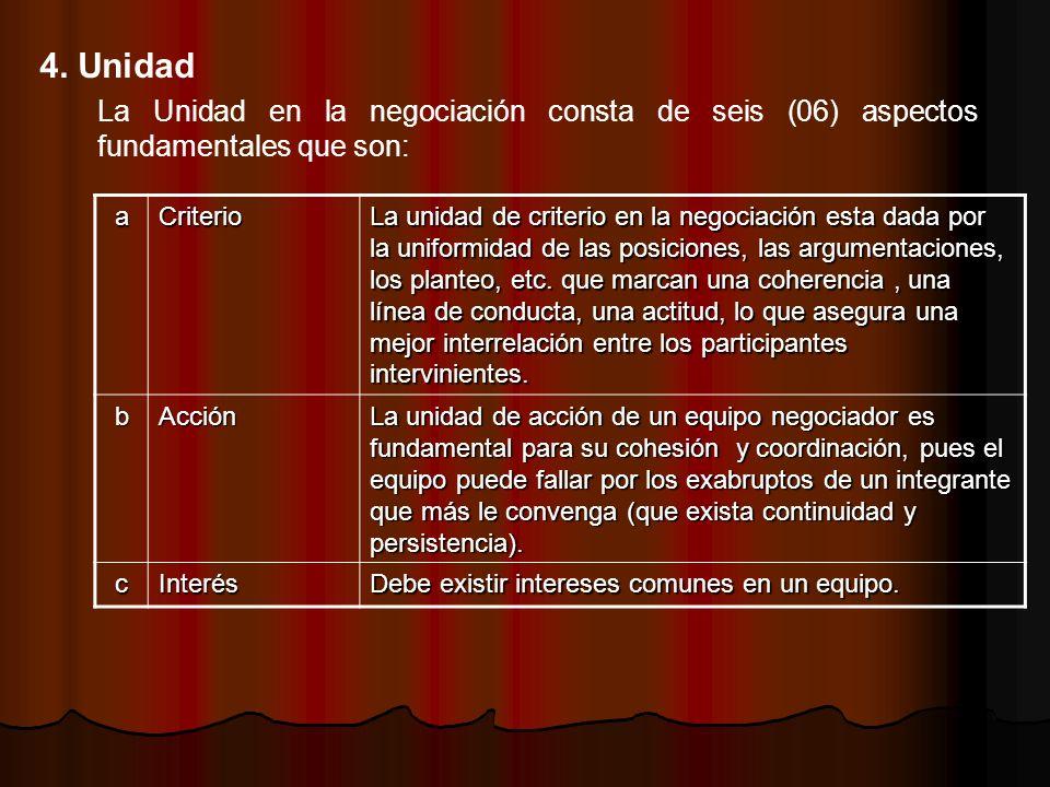 4. Unidad La Unidad en la negociación consta de seis (06) aspectos fundamentales que son: a. Criterio.