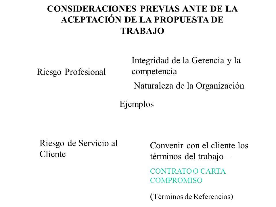 Integridad de la Gerencia y la competencia Riesgo Profesional