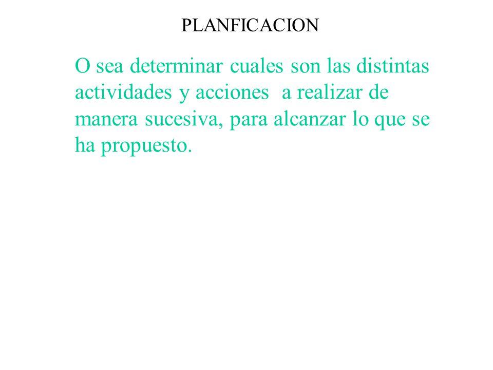 PLANFICACION O sea determinar cuales son las distintas actividades y acciones a realizar de manera sucesiva, para alcanzar lo que se ha propuesto.