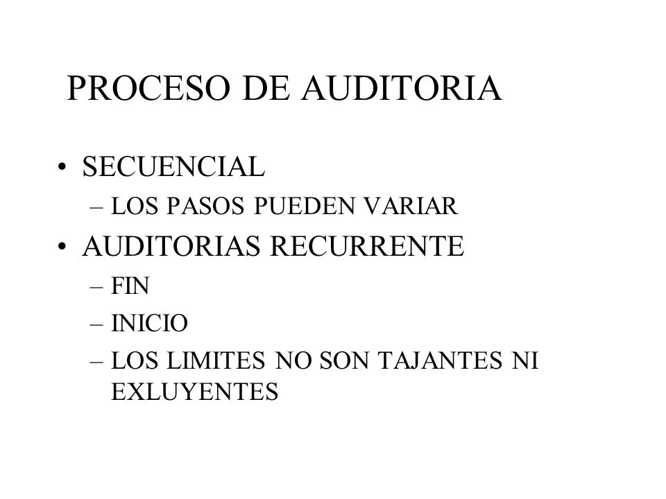 PROCESO DE AUDITORIA SECUENCIAL AUDITORIAS RECURRENTE