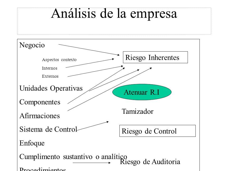 Análisis de la empresa Negocio Aspectos contexto Riesgo Inherentes