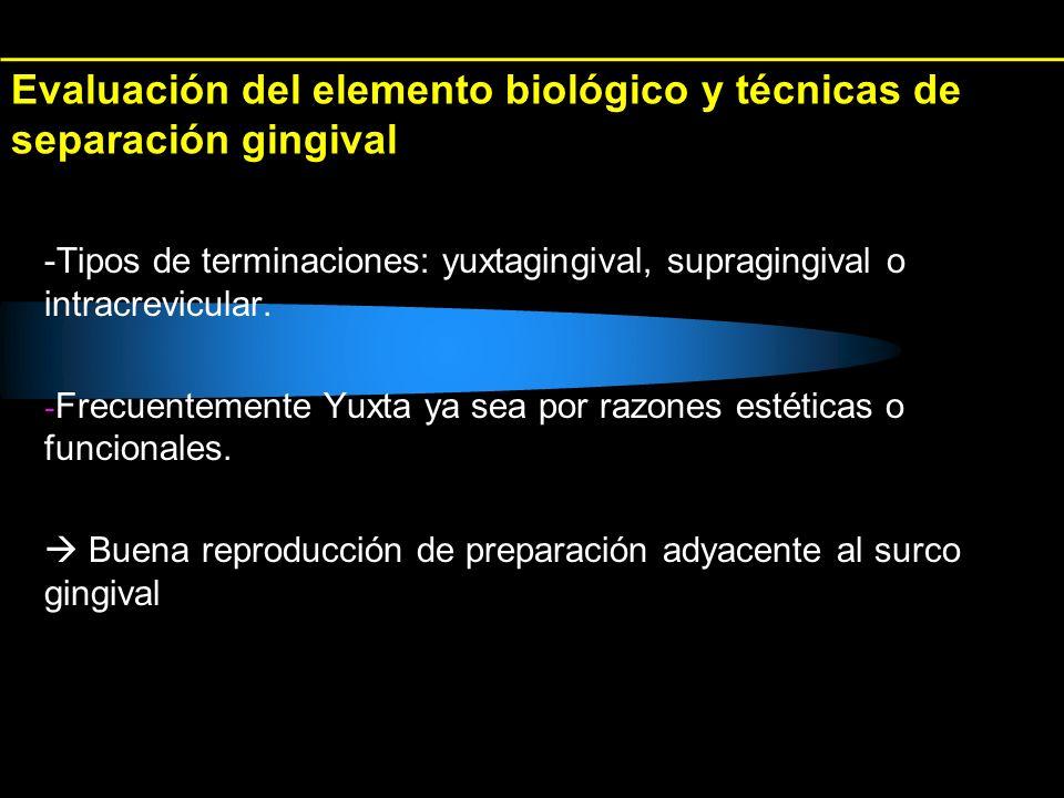 Evaluación del elemento biológico y técnicas de separación gingival