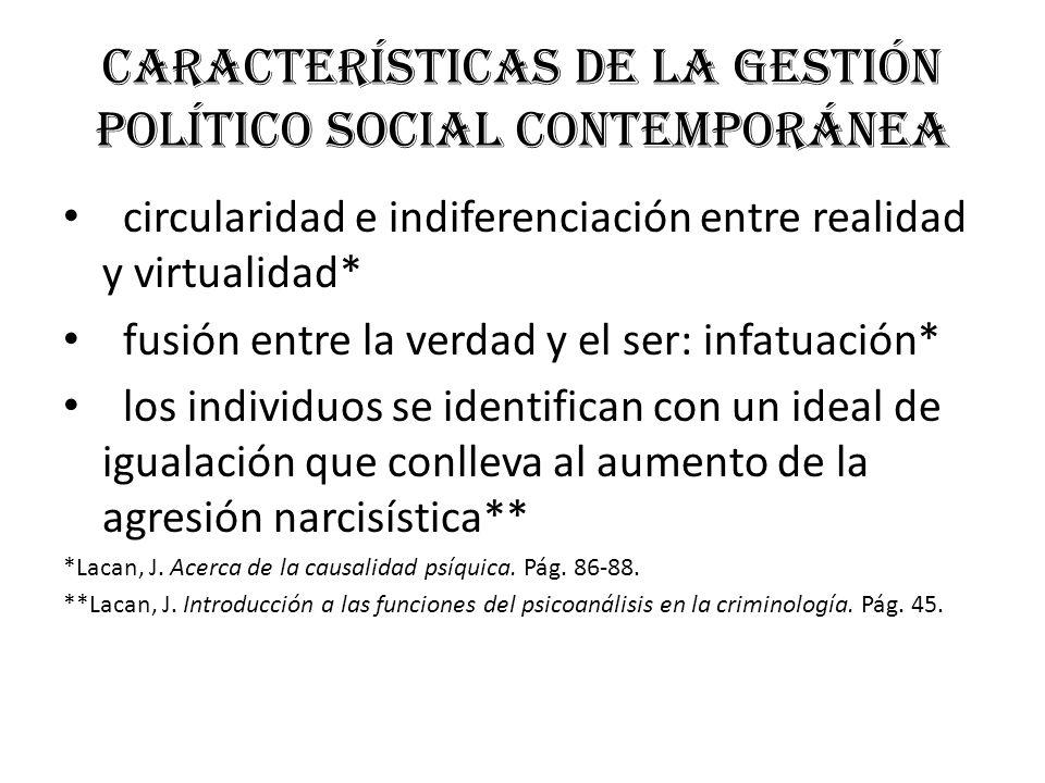 Características de la gestión político social contemporánea