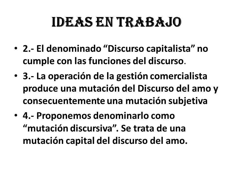 Ideas en trabajo 2.- El denominado Discurso capitalista no cumple con las funciones del discurso.