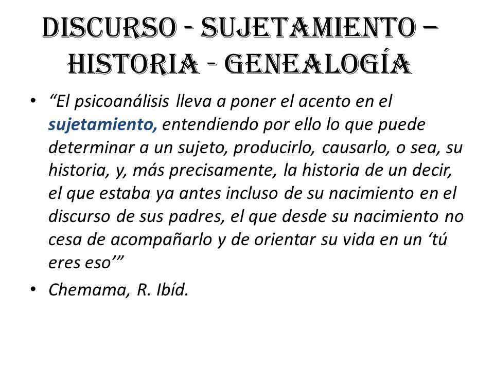 Discurso - Sujetamiento – Historia - Genealogía