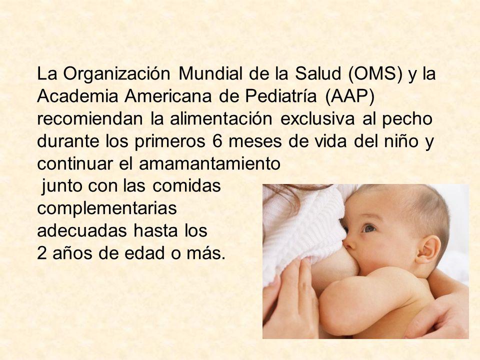 La Organización Mundial de la Salud (OMS) y la Academia Americana de Pediatría (AAP) recomiendan la alimentación exclusiva al pecho durante los primeros 6 meses de vida del niño y continuar el amamantamiento