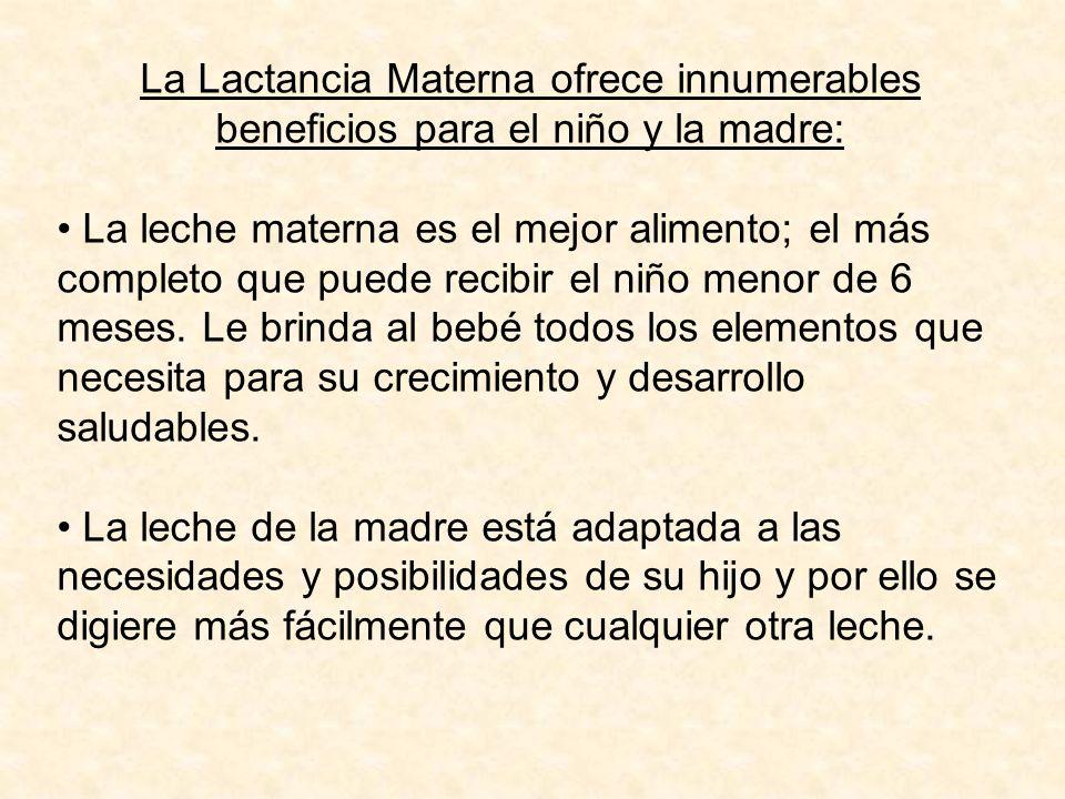 La Lactancia Materna ofrece innumerables beneficios para el niño y la madre: