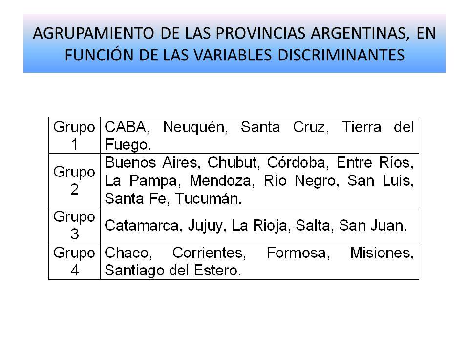 AGRUPAMIENTO DE LAS PROVINCIAS ARGENTINAS, EN FUNCIÓN DE LAS VARIABLES DISCRIMINANTES