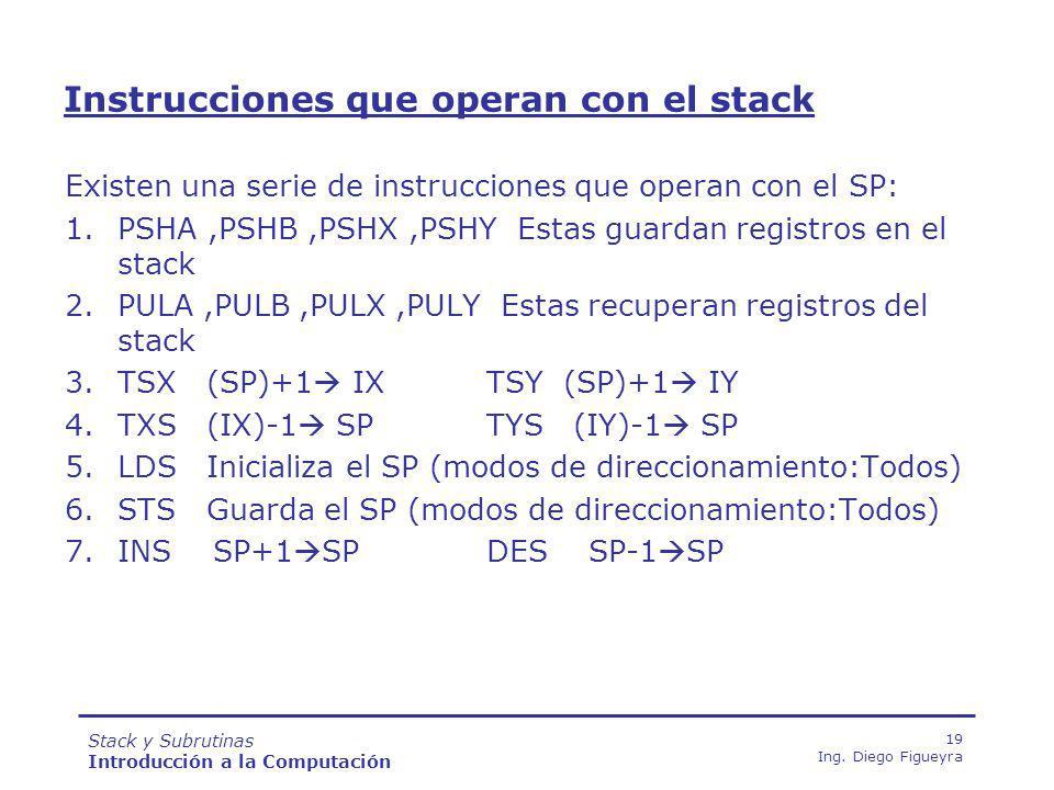 Instrucciones que operan con el stack