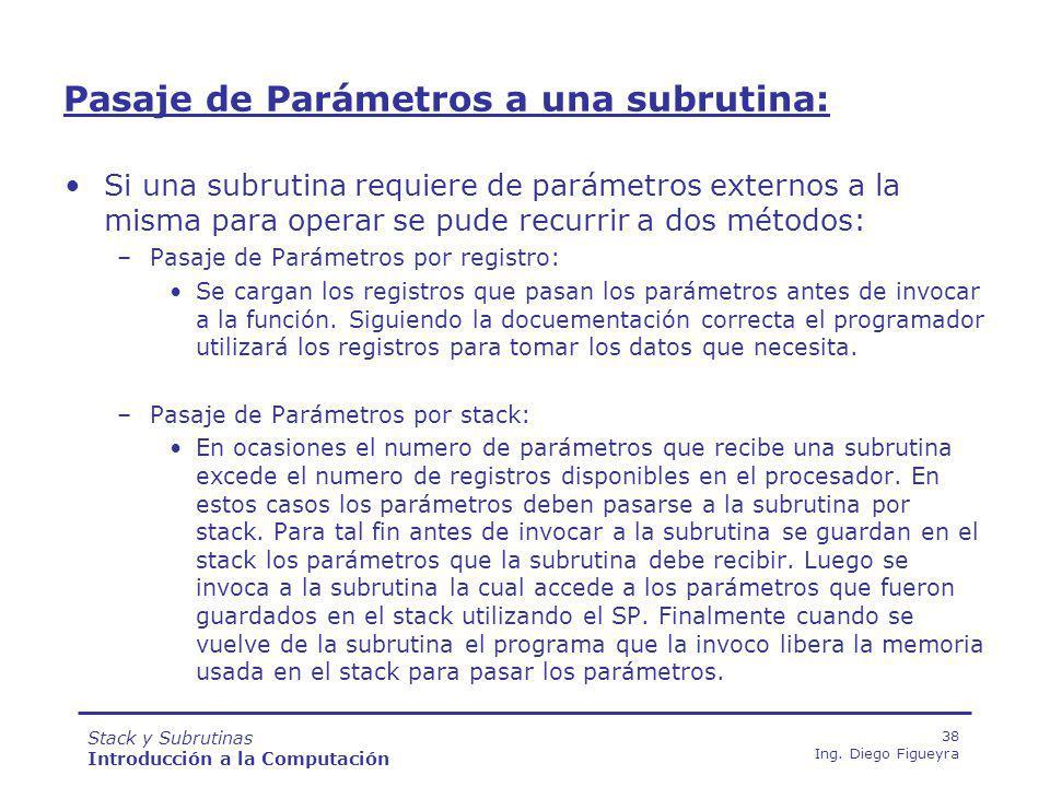 Pasaje de Parámetros a una subrutina: