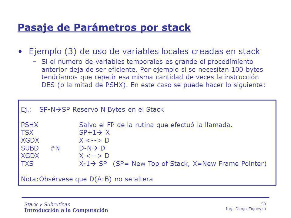 Pasaje de Parámetros por stack