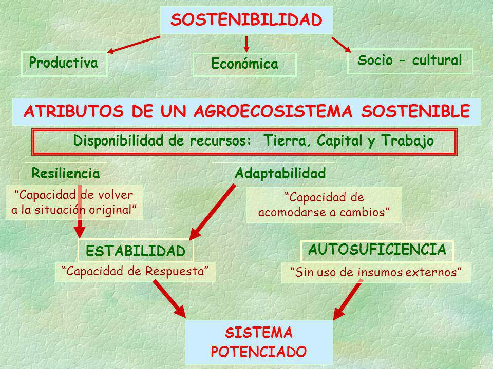 SOSTENIBILIDAD ATRIBUTOS DE UN AGROECOSISTEMA SOSTENIBLE