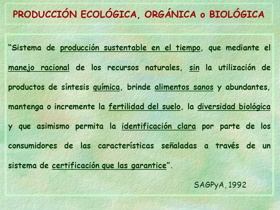 PRODUCCIÓN ECOLÓGICA, ORGÁNICA o BIOLÓGICA