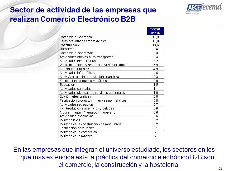 Sector de actividad de las empresas que realizan Comercio Electrónico B2B
