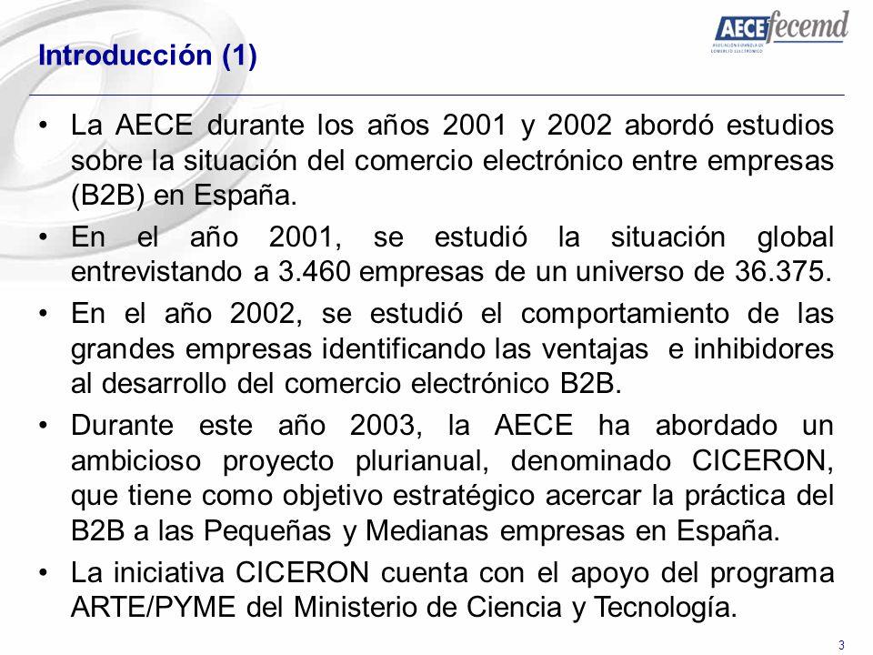 Introducción (1) La AECE durante los años 2001 y 2002 abordó estudios sobre la situación del comercio electrónico entre empresas (B2B) en España.