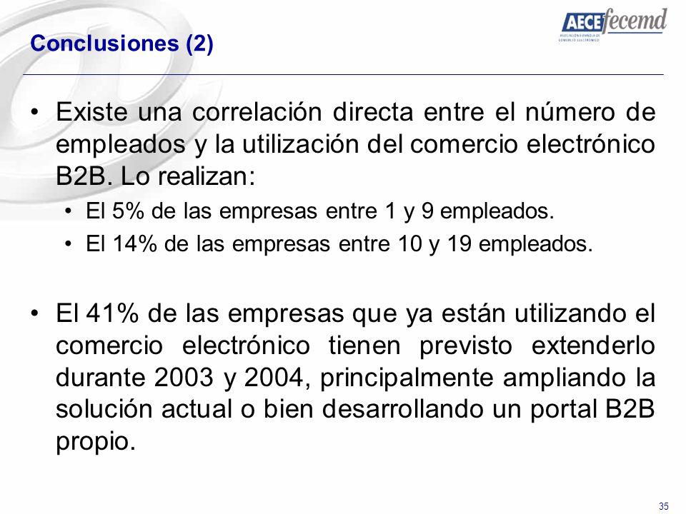 Conclusiones (2) Existe una correlación directa entre el número de empleados y la utilización del comercio electrónico B2B. Lo realizan: