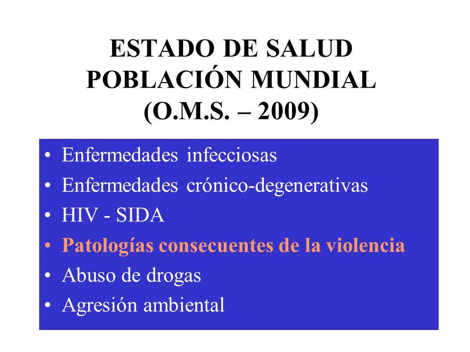 ESTADO DE SALUD POBLACIÓN MUNDIAL (O.M.S. – 2009)