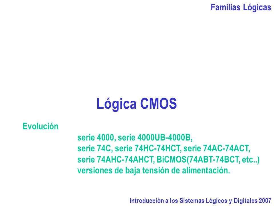 Lógica CMOS Familias Lógicas Evolución serie 4000, serie 4000UB-4000B,