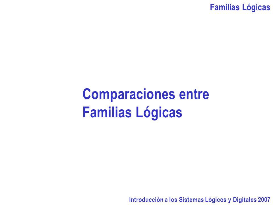 Comparaciones entre Familias Lógicas Familias Lógicas
