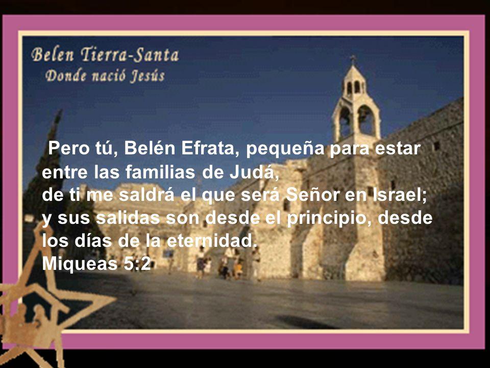 Pero tú, Belén Efrata, pequeña para estar entre las familias de Judá, de ti me saldrá el que será Señor en Israel; y sus salidas son desde el principio, desde los días de la eternidad.