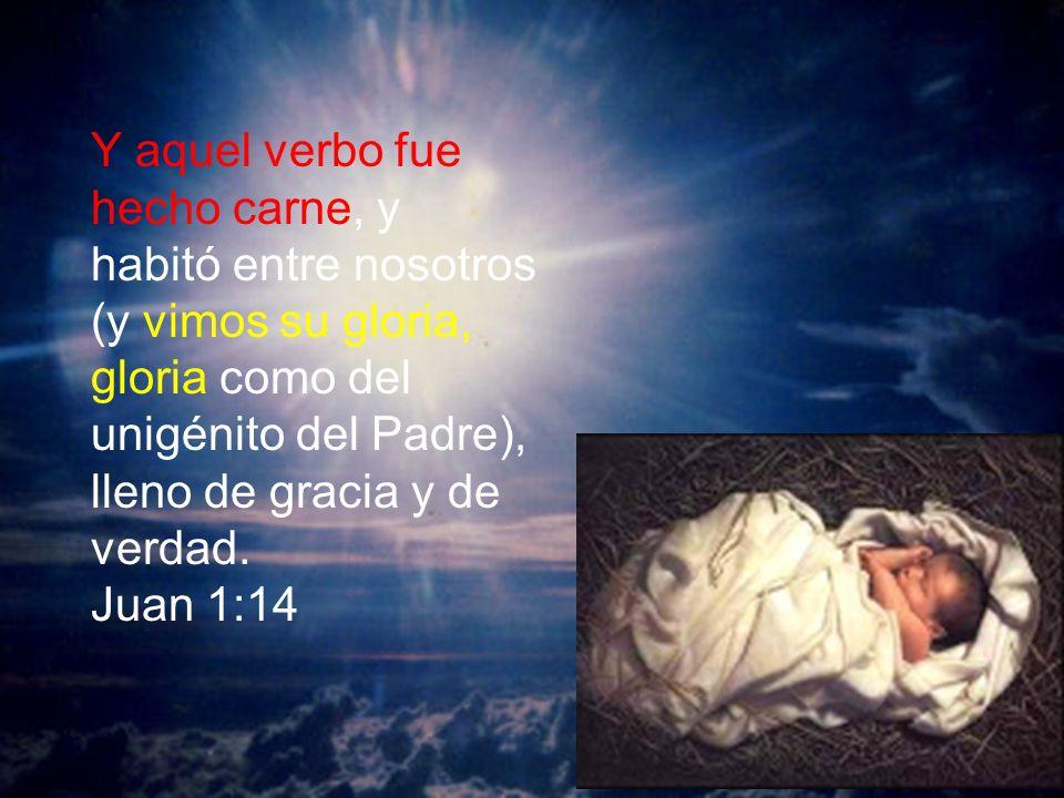 Y aquel verbo fue hecho carne, y habitó entre nosotros (y vimos su gloria, gloria como del unigénito del Padre), lleno de gracia y de verdad.