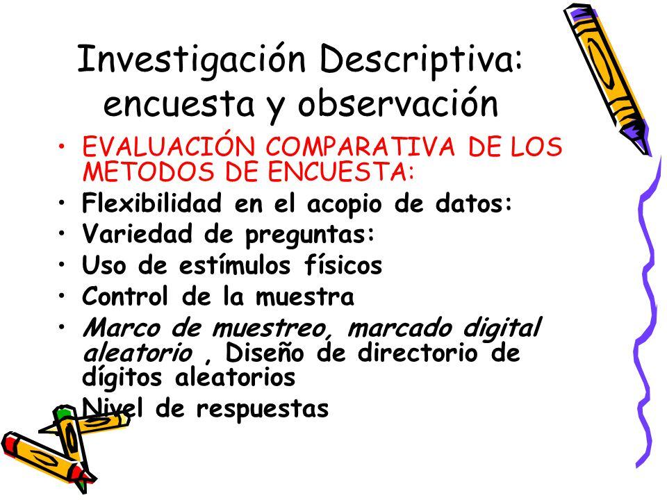 Investigación Descriptiva: encuesta y observación