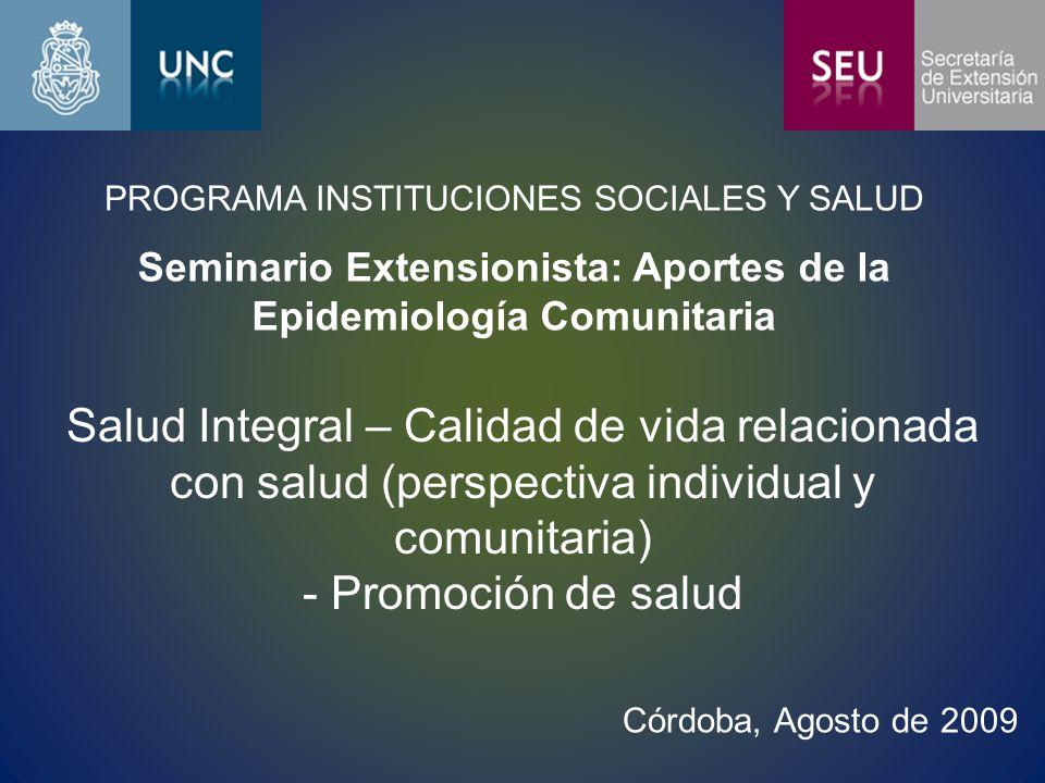 Seminario Extensionista: Aportes de la Epidemiología Comunitaria