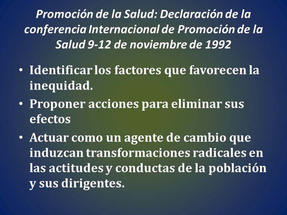 Promoción de la Salud: Declaración de la conferencia Internacional de Promoción de la Salud 9-12 de noviembre de 1992