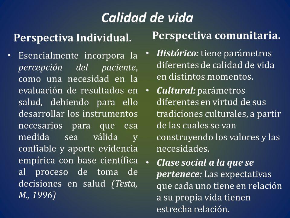 Perspectiva comunitaria. Perspectiva Individual.