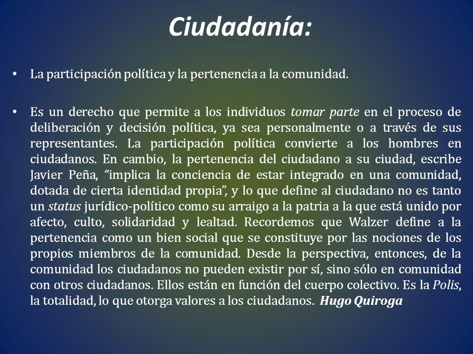 Ciudadanía: La participación política y la pertenencia a la comunidad.