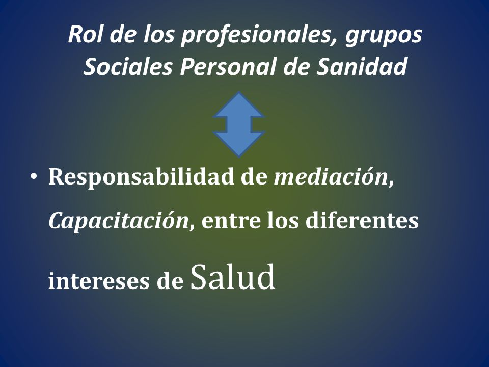 Rol de los profesionales, grupos Sociales Personal de Sanidad