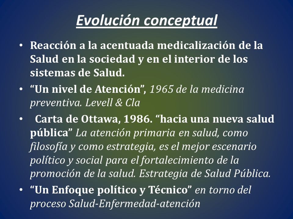 Evolución conceptual Reacción a la acentuada medicalización de la Salud en la sociedad y en el interior de los sistemas de Salud.