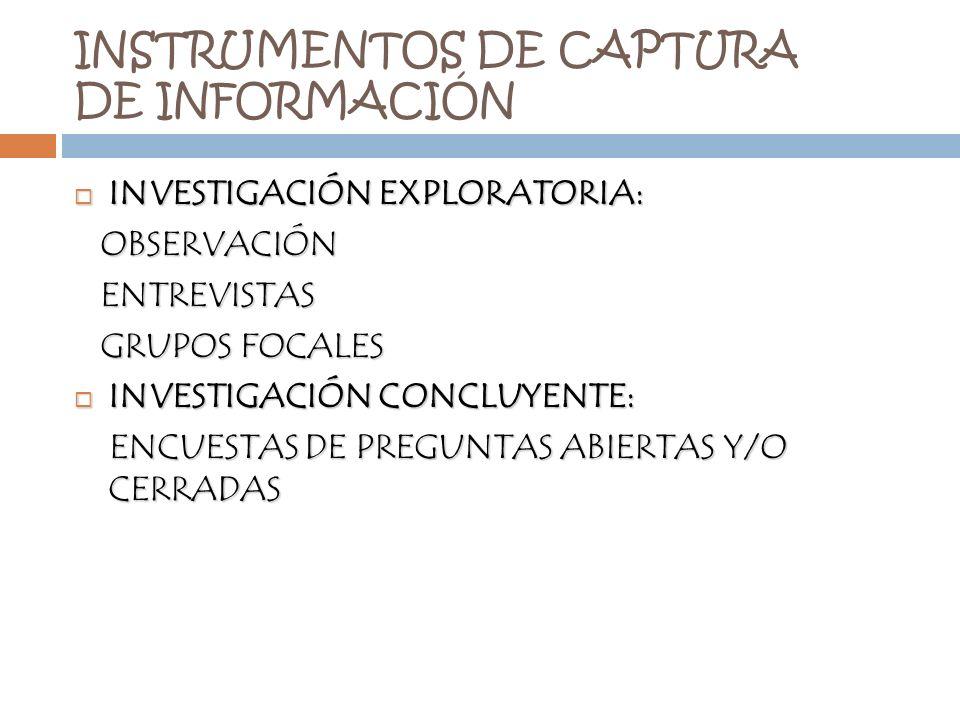 INSTRUMENTOS DE CAPTURA DE INFORMACIÓN