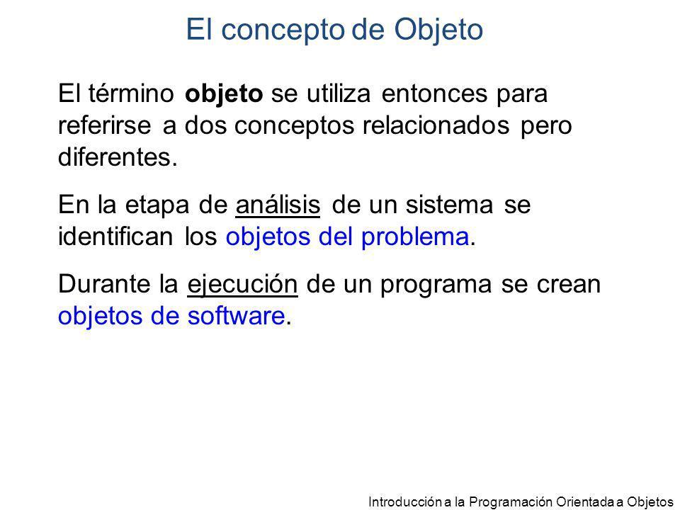 El concepto de Objeto El término objeto se utiliza entonces para referirse a dos conceptos relacionados pero diferentes.