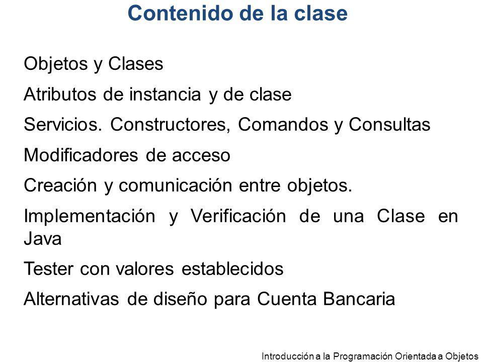 Contenido de la clase Objetos y Clases