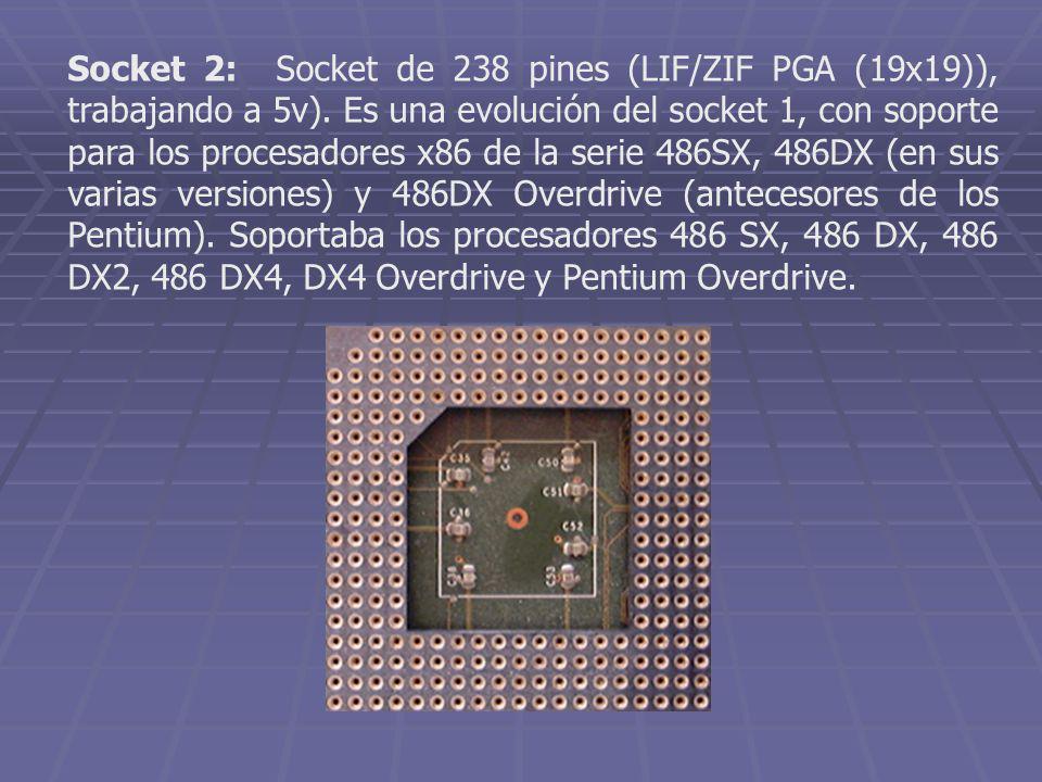 Socket 2: Socket de 238 pines (LIF/ZIF PGA (19x19)), trabajando a 5v)