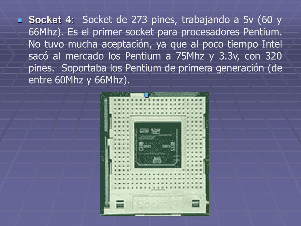 Socket 4: Socket de 273 pines, trabajando a 5v (60 y 66Mhz)