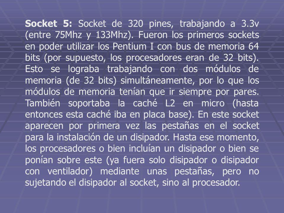 Socket 5: Socket de 320 pines, trabajando a 3